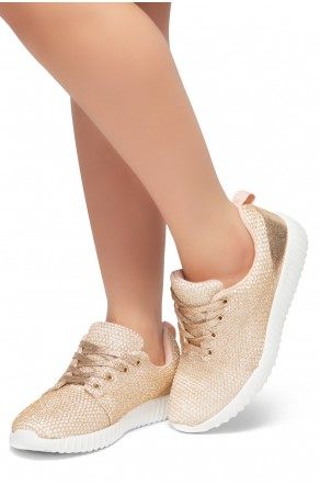 HerStyle EASY RIDER- Front Lace Up, Spec Flyknit Glitter Contrast Chic Style Sneakers (Gold)
