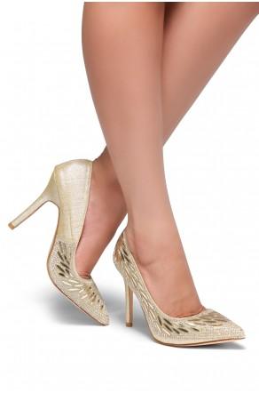 HerStyle Ecidia-Stiletto heel, jeweled embellishments (Gold)