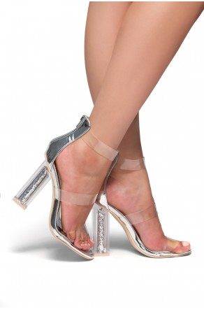 HerStyle Elaesse Metallic Open Toe Lucite Straps Glitter Perspex Heel (ClearSilver)