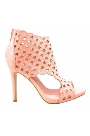 Women's Pink Emaaleena 4.5-inch Open-Toe Sandal with Lacey Vamp