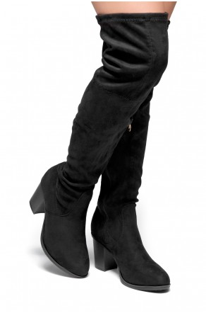 HerStyle Emmeery Almond toe, chunky heel, thigh high construction (Black)