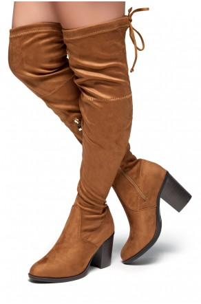 HerStyle Emmeery Almond toe, chunky heel, thigh high construction (Cognac)