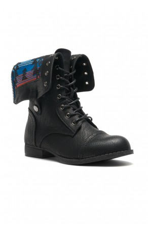 Women's Black Manmade Emoojjii Combat Boot with Patterned Fold-Down Liner (Black)