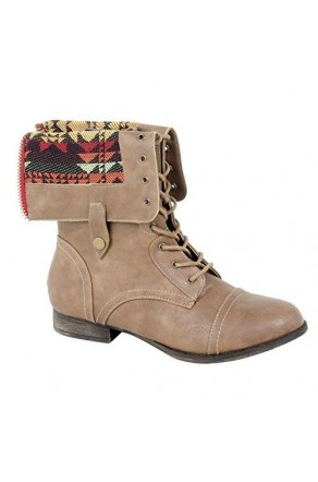 Women's Cognac Manmade Emoojjii Combat Boot with Patterned Fold-Down Liner (Cognac)