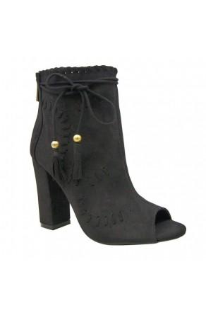 Women's Black Tassel Heel Booties ENCOUNTER