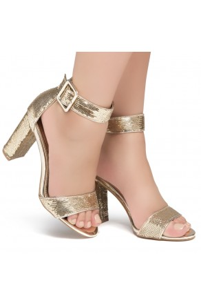 Shoe Land ENLOVE-Chunky heel, ankle strap (1835 GLDSQ/GLD)