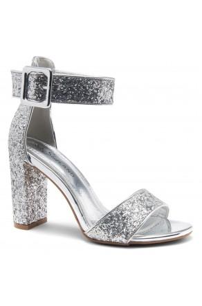 Shoe Land ENLOVE-Chunky heel, ankle strap (1926 SilverGlitter)