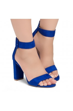 Shoe Land ENLOVE-Chunky heel, ankle strap (RoyaBlue)