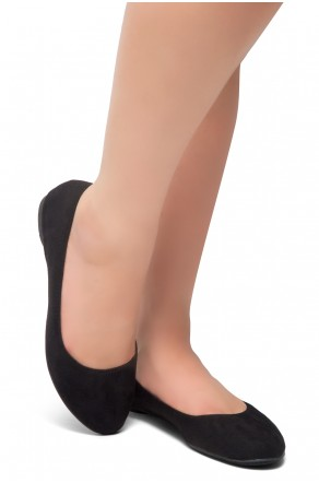 HerStyle Ever Memory -Almond Toe, No detail, Ballet Flat (Black IM)
