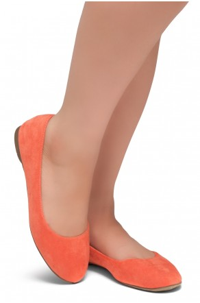 HerStyle Ever Memory -Almond Toe, No detail, Ballet Flat (Coral IM)