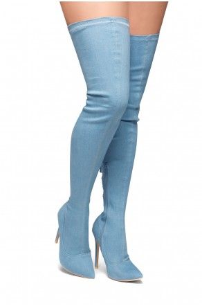 HerStyle Cessi-Stiletto heel, Thigh high, nail head detail (L.Blue DM)