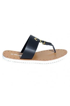 Women's Black Manmade Fizzing T-Strap Sandal with Bright Buckle Accent