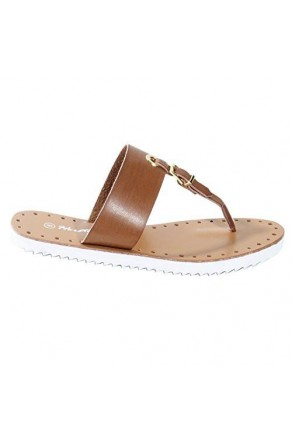 Women's Camel Manmade Fizzing T-Strap Sandal with Bright Buckle Accent