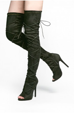 HerStyle Freyya Peep toe, stiletto heel, thigh high Sock Boots, front lace-up (Olive)