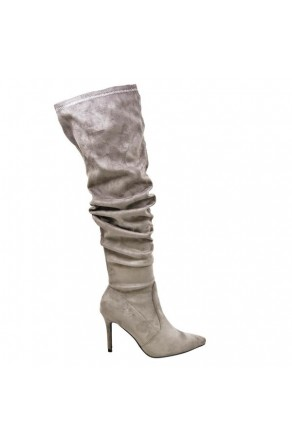 Women's Grey Thigh High Stretchy Suede Material Pointy Toe Stiletto Heel Boots GABRIANNA