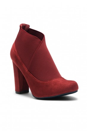 Women's Burgundy Gaella Chunky Heel Booties with elastic gusset wraparound detail at vamp