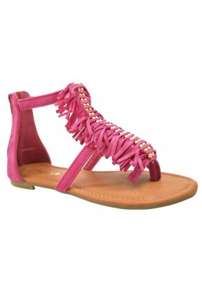 Women's Fuchsia Geenna T-Strap Flat Sandal with Fringed Vamp