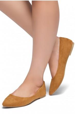 HerStyle Gemma-Pointed Toe Ballet Comfort (Cognac)