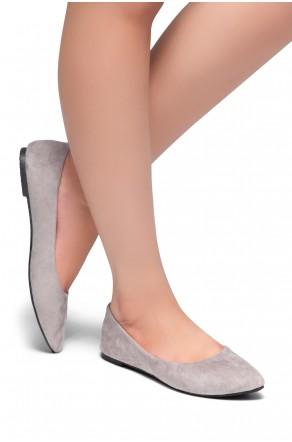 HerStyle Gemma-Pointed Toe Ballet Comfort (Grey)