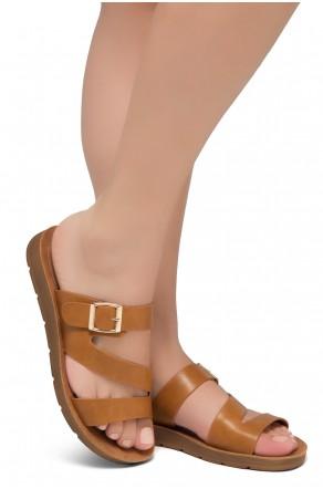 Shoe Land GORIE-Open Toe Buckled Slide-On Sandal (Cognac)