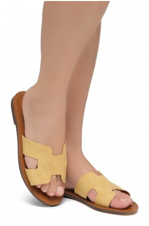 Shoe Land Greece- Lightweight Flat Easy Slide-On Sandals (1901/Mustard)