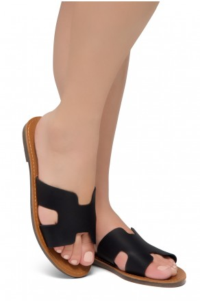 Shoe Land SL-Greece- Lightweight Flat Easy Slide-On Sandals (Black)