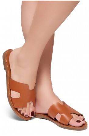 HerStyle Greece- Lightweight Flat Easy Slide-On Sandals (Cognac)