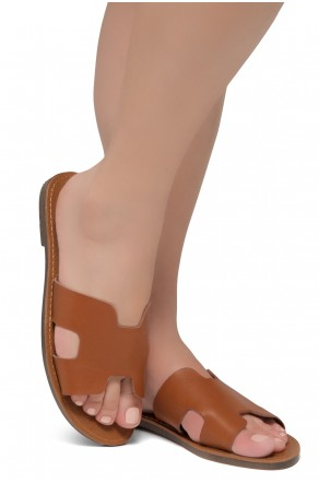 Shoe Land SL-Greece- Lightweight Flat Easy Slide-On Sandals (Cognac)