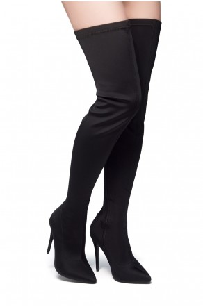 HerStyle Haute Moment-Pointed toe, stiletto heel, thigh high construction, side zipper closure (Black)