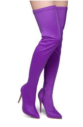 HerStyle Haute Moment-Pointed toe, stiletto heel, thigh high construction, side zipper closure (Purple)