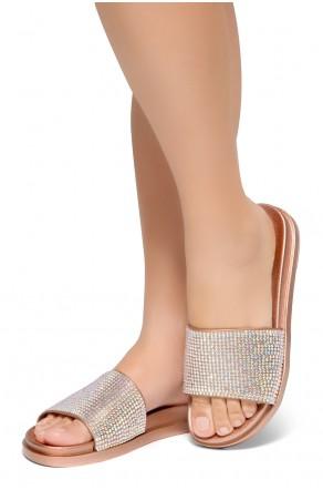 HerStyle Heated-Open Toe Jewelled Embellishment Slide Sandal (RoseGold)