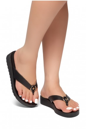 HerStyle Helsa- Thong Sandals With Low Wedge and Metallic Accent  (Black)