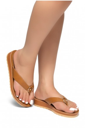 HerStyle Helsa- Thong Sandals With Low Wedge and Metallic Accent  (Cognac)