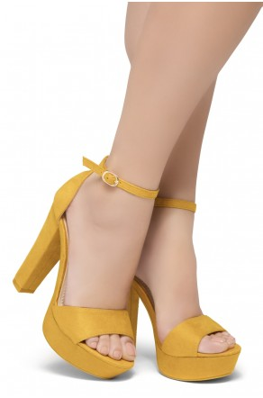 HerStyle Island-Chunky heel, Adjustable Ankle Strap (Mustard)