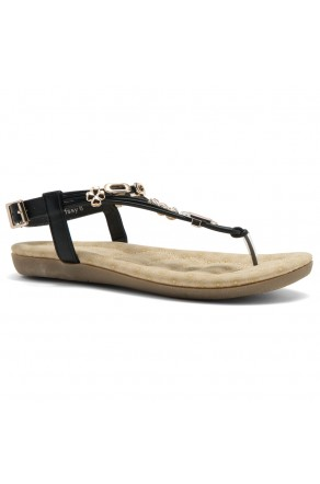 Shoe Land Issy-Manmade Women's Flat Sandal with Flirty Metallic Accents (Black)