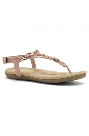 Shoe Land Issy-Manmade Women's Flat Sandal with Flirty Metallic Accents (Mauve)