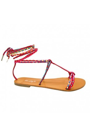 Women's FuchsiaMulti Manmade Janenn Braided T-Strap Sandal with Knee-high Laces