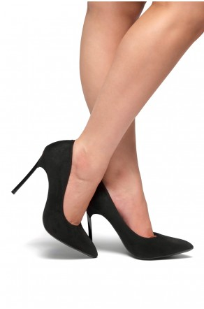 HerStyle Janiccee Curved Stiletto Heel Pointed Pumps (Black)