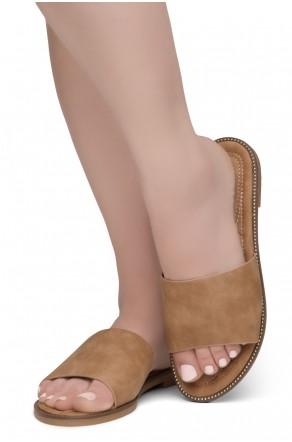 Shoe Land Joli Women's Open Toe Flat Sandals Slide Slip On Shoes (2022Tan)