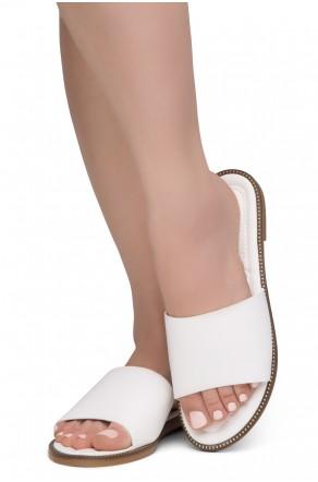 Shoe Land Joli Women's Open Toe Flat Sandals Slide Slip On Shoes (2022White)