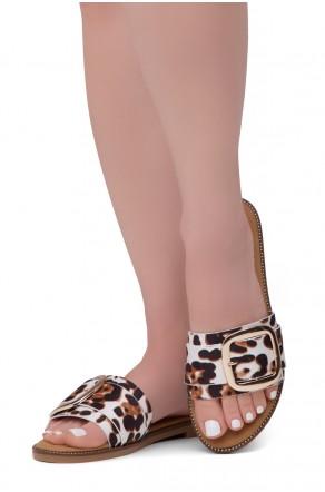 Shoe Land Joli Women's Open Toe Flat Sandals Slide Slip On Shoes (Leopard)