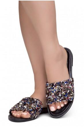 Shoe Land Joli Women's Open Toe Rhinestone Flat Sandals Glitter Slide Slip On Shoes (MultiSQ)