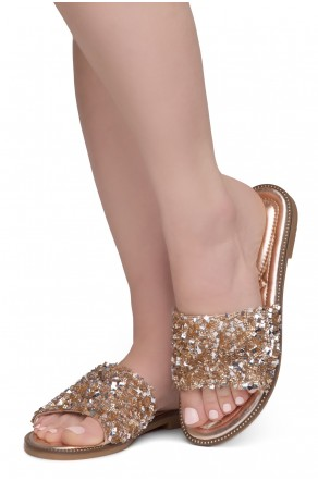 Shoe Land Joli Women's Open Toe Rhinestone Flat Sandals Glitter Slide Slip On Shoes (RosegoldSQ)