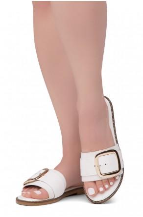 Shoe Land Joli Women's Open Toe Flat Sandals Slide Slip On Shoes (White)