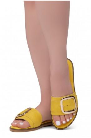 Shoe Land Joli Women's Open Toe Flat Sandals Slide Slip On Shoes (Mustard)