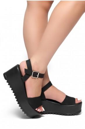 HerStyle  Women's Jolliee  Open Toe Ankle Strap platform Wedge  (Black)