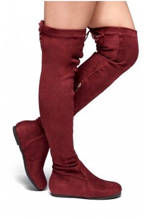HerStyle Julius Women's Fashion Drawstring thigh high Flat Boots (Burgundy)