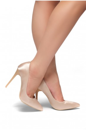 HerStyle Kaali Satin pointed toe, stiletto heel (Blush)