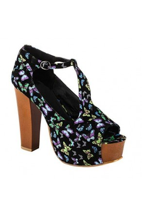 "Women's Black Butterfly Kaillee Manmade Chunky 5"" Heel Platform Sandals with Trendy Print"