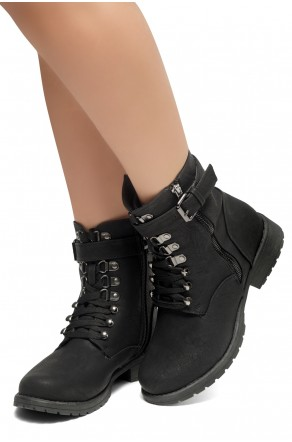 HerStyle Kalie-Lace up side zipper Combat Booties (Black)